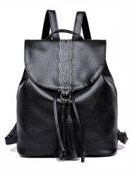 Faux Leather Casual Shopping Tassels Backpack -