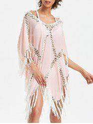 Sheer Asymmetrical Fringed Cover Up -