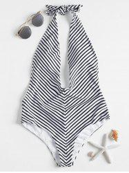 Backless Striped High Leg Swimsuit -