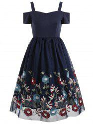 Sweetheart Neck Floral Embroidery A Line Dress -