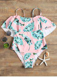 Cami Strap Flounce Leaves Pattern Swimsuit -