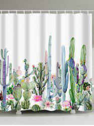 Watercolor Painting Cactus Print Bathroom Shower Curtain -