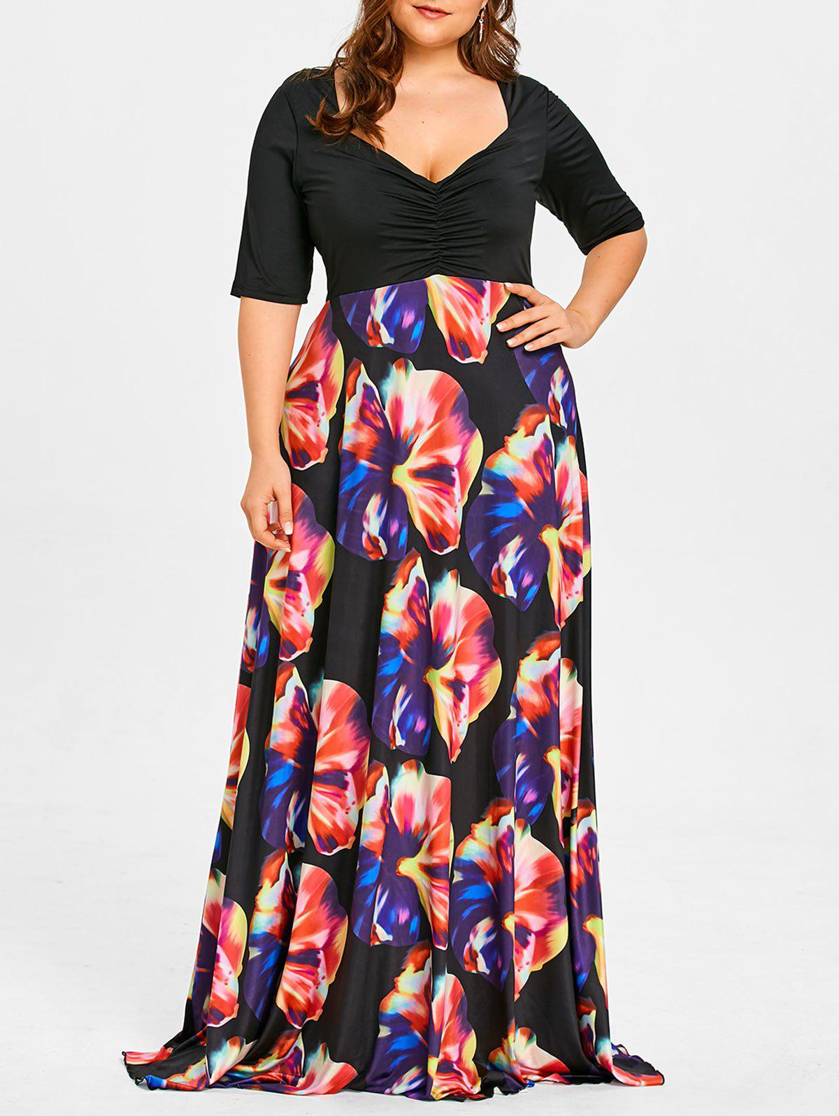 Best Flower Print Plus Size Maxi High Waisted Dress