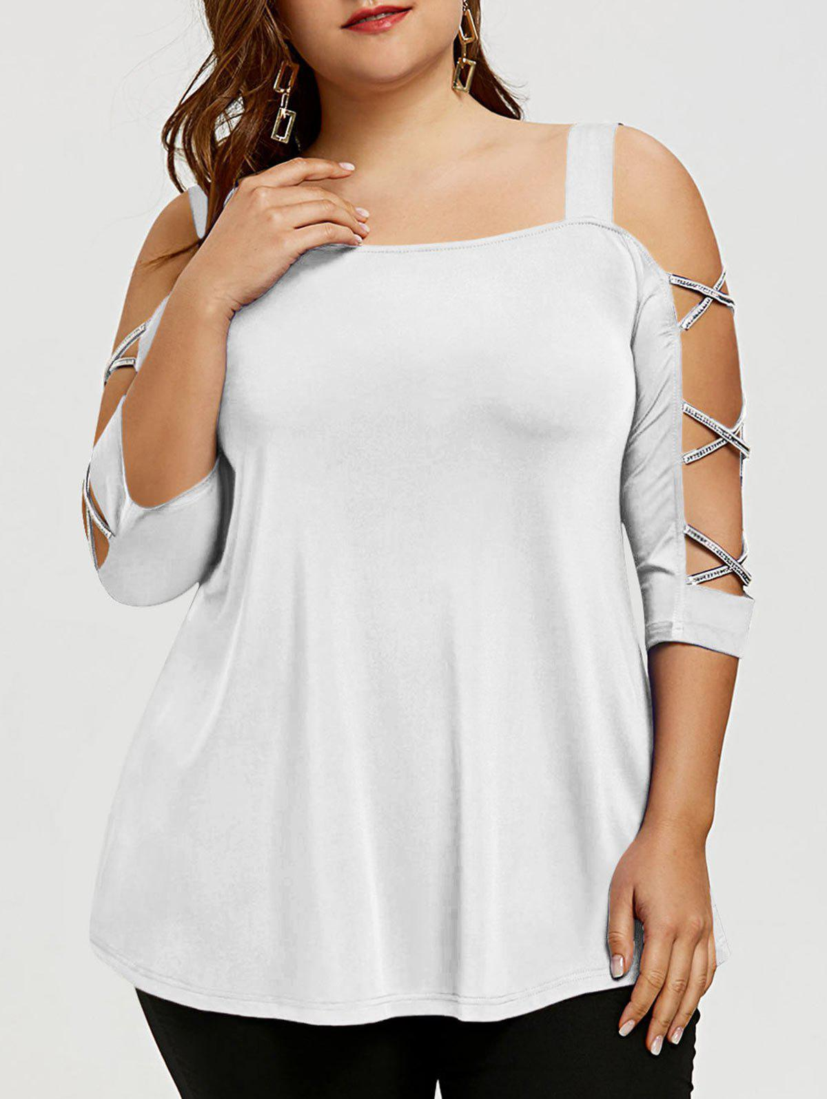 Fashion Plus Size Cut Out Cross Sleeve T-shirt