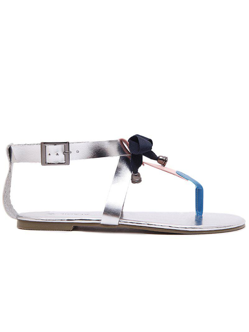 Hot PU Leather Bowknot Bell T Strap Sandals