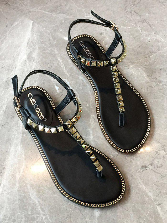Trendy T Strap PU Leather Stud Sandals