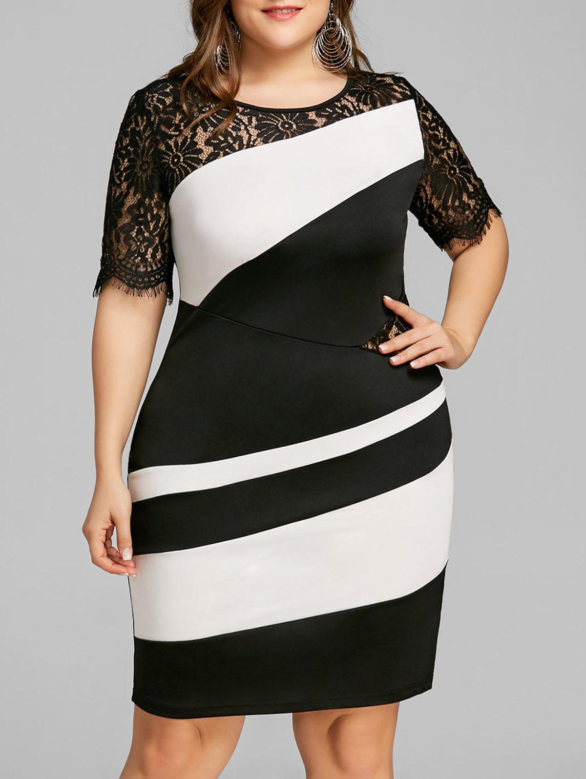 Outfits Plus Size Two Tone Lace Insert Tight Dress