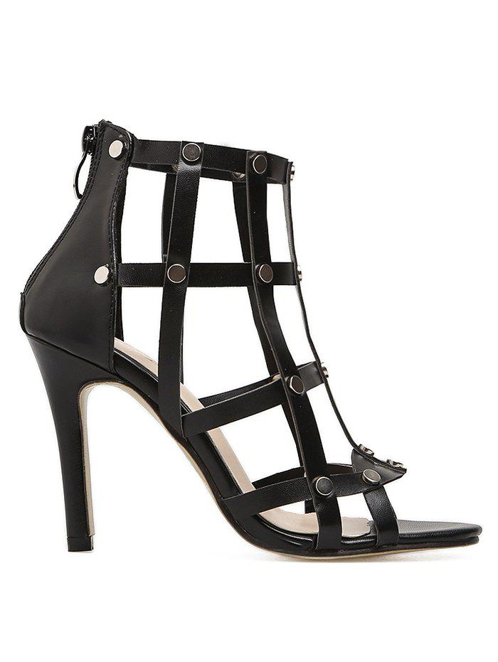 Fashion Studded High Heel Back Zip Gladiator Sandals