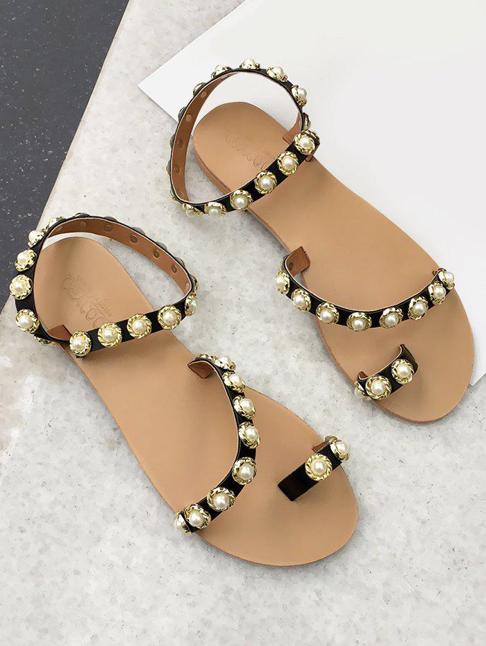Buy Ankle Strap Faux Pearl Toe Ring Sandals