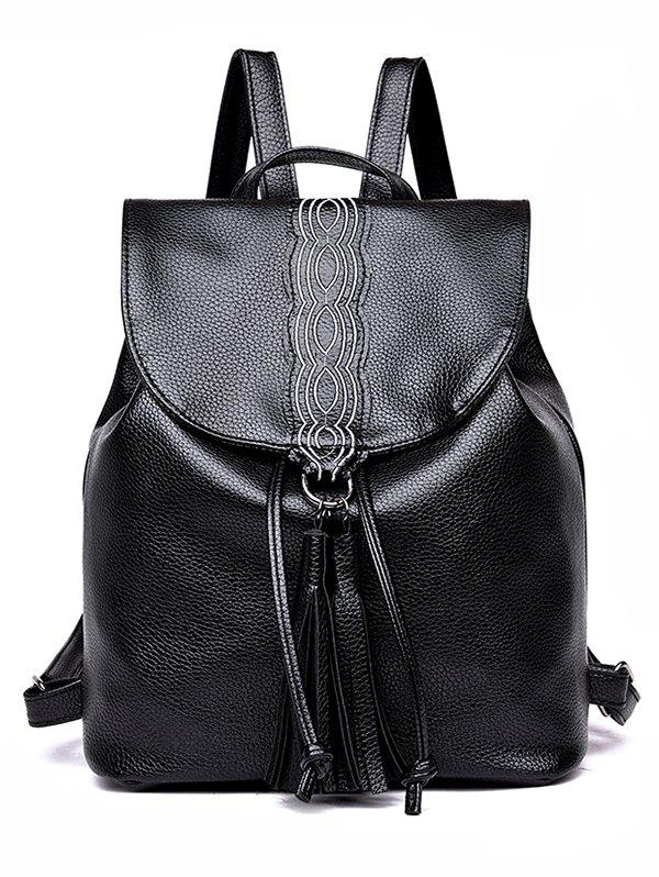 Discount Faux Leather Casual Shopping Tassels Backpack