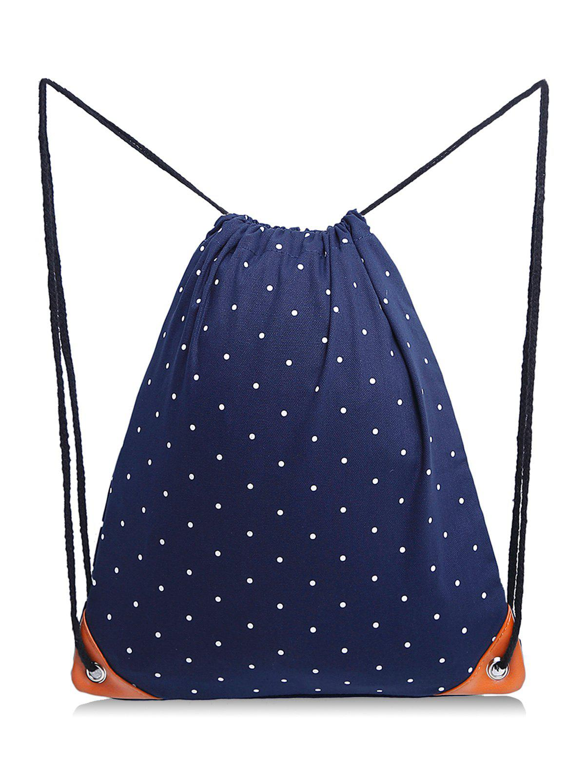 Affordable Polka Dot Casual School Drawstring Backpack
