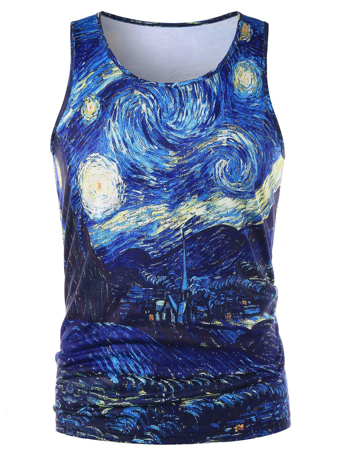 Buy Crew Neck Starry Sky Print Tank Top