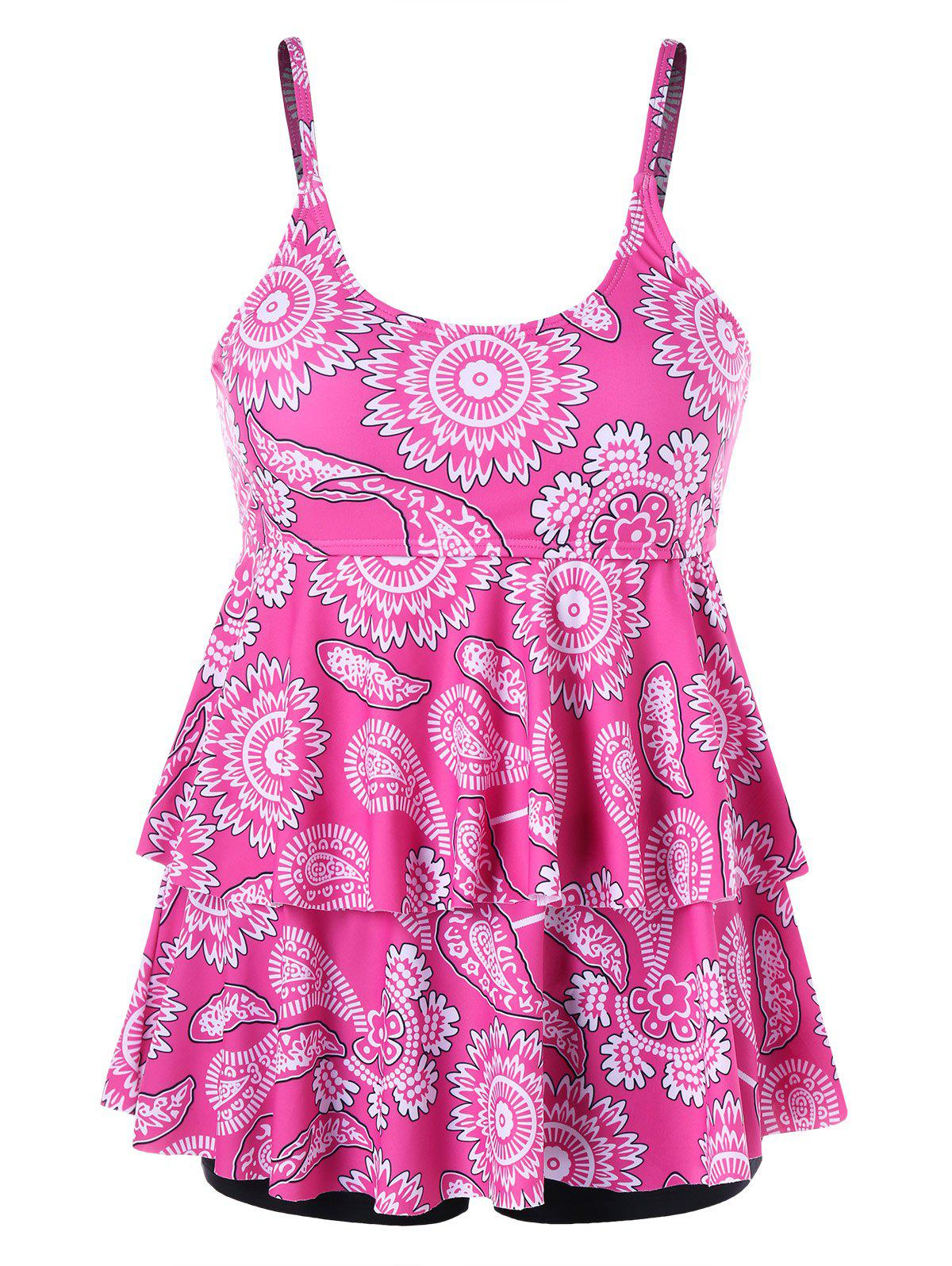 Online Tier Flounce Printed Plus Size Tankini