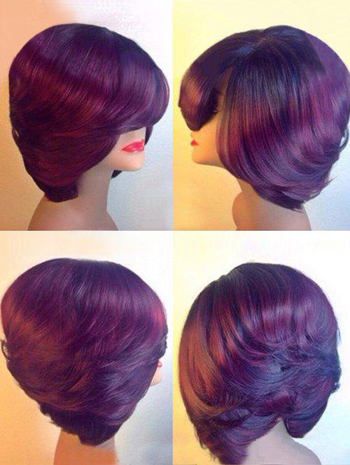 Discount Short Inclined Bang Layered Straight Party Synthetic Wig