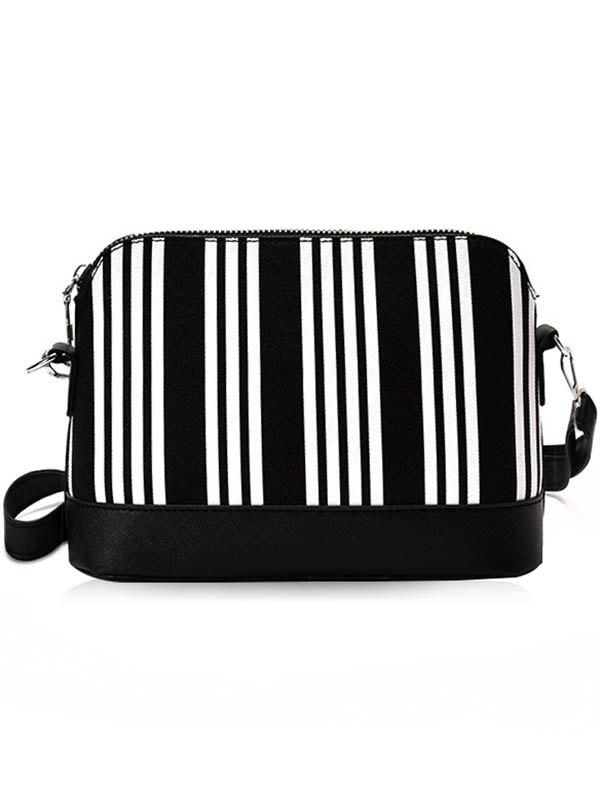 Shop Contrasting Color Faux Leather Shopping Crossbody Bag