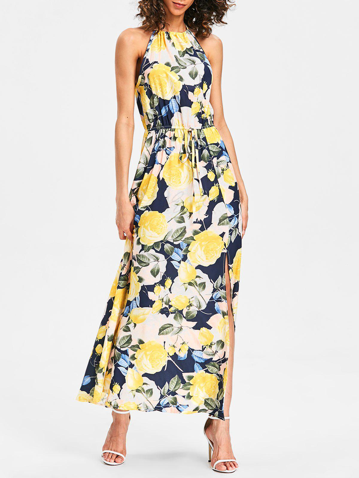 Cheap Back Cut Out Printed Maxi Dress