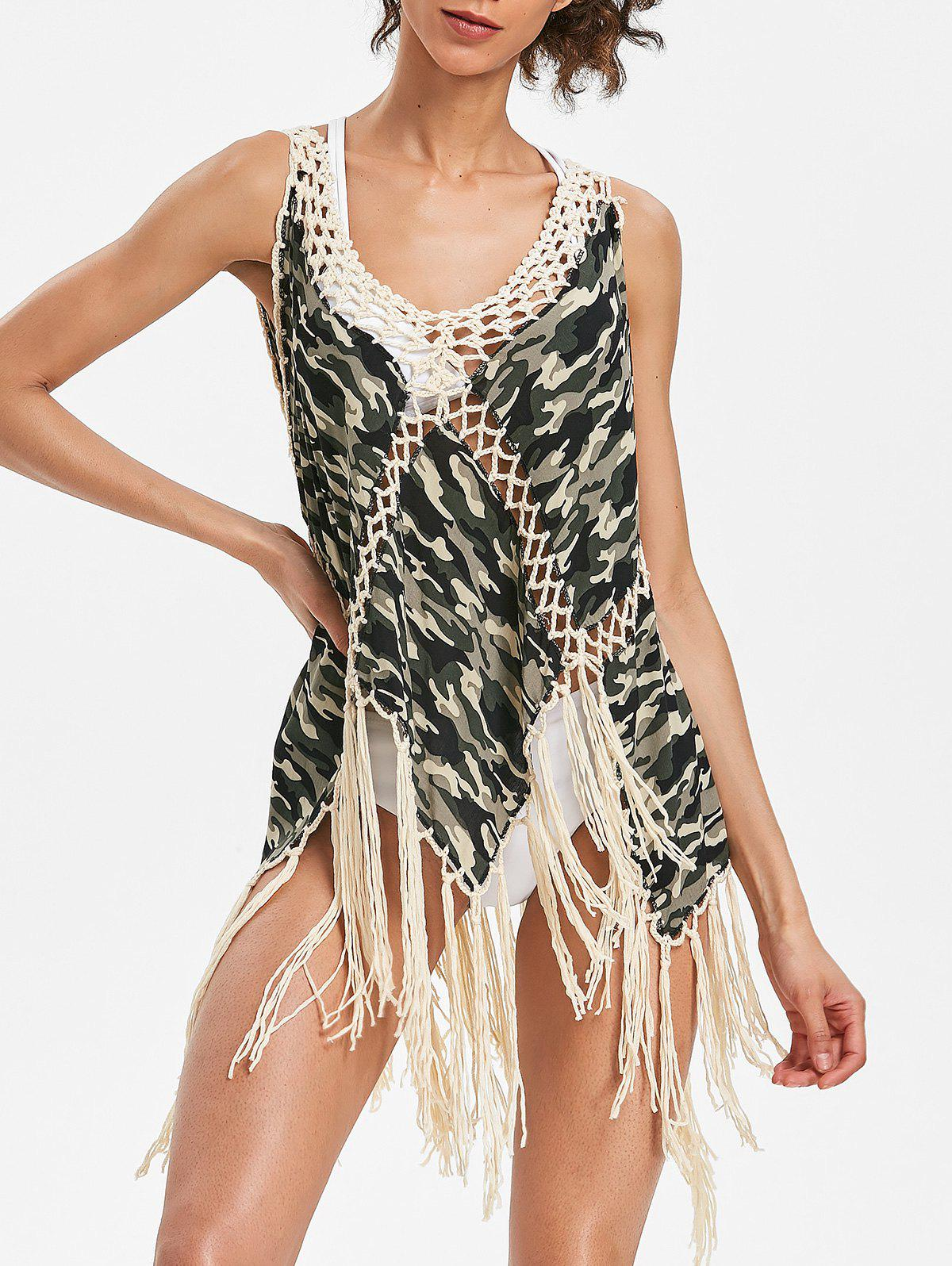 Unique Crochet Insert Fringed Camo Cover Up