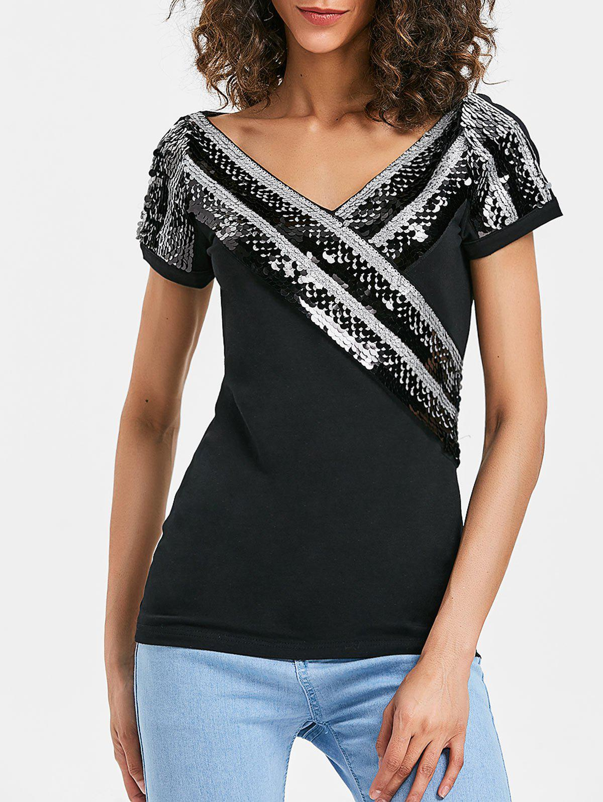 Buy V Neck Sequined Sparkle Tee