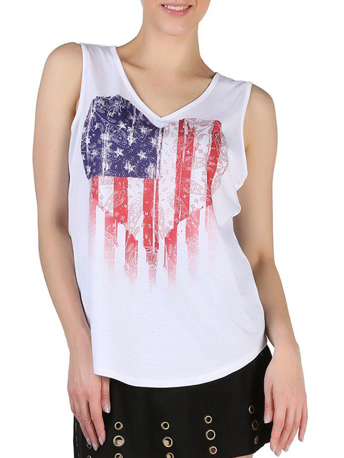 Cheap Queensfield Heart American Flag Print V Neck Tank Top