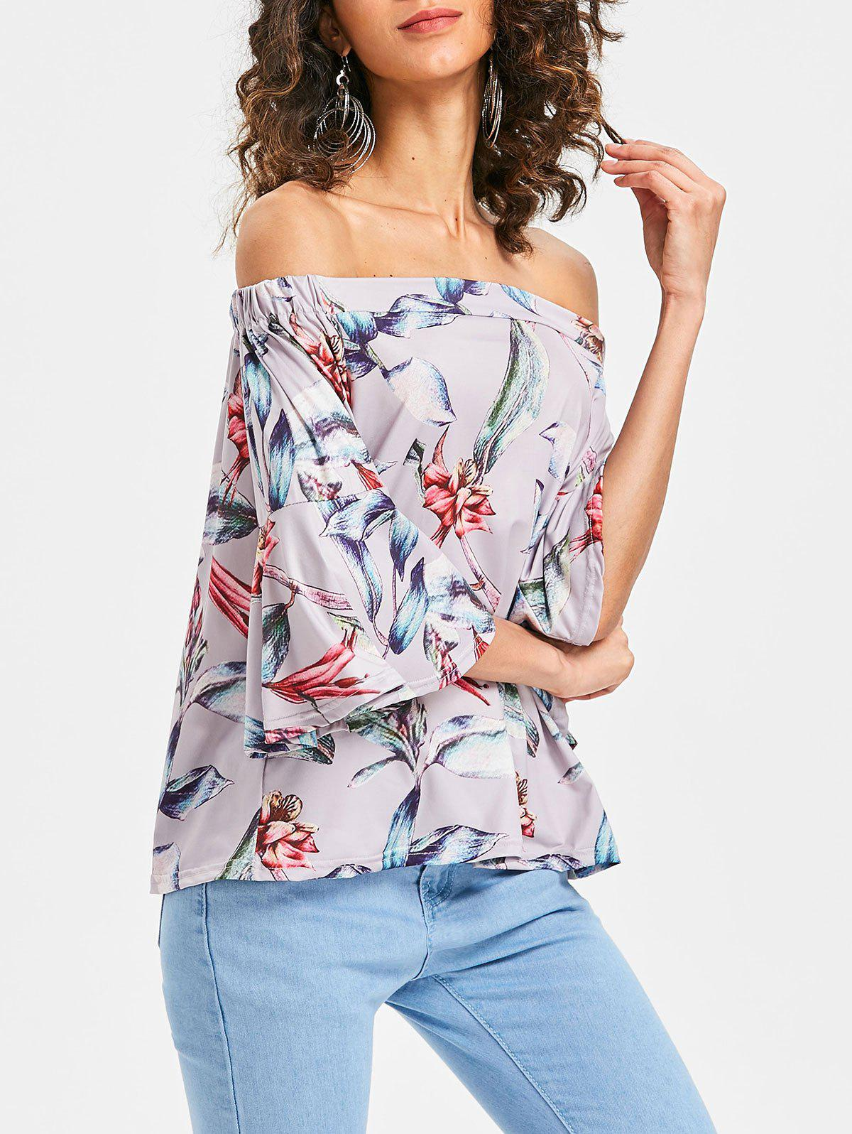 Buy Bell Sleeve Off The Shoulder Printed Blouse