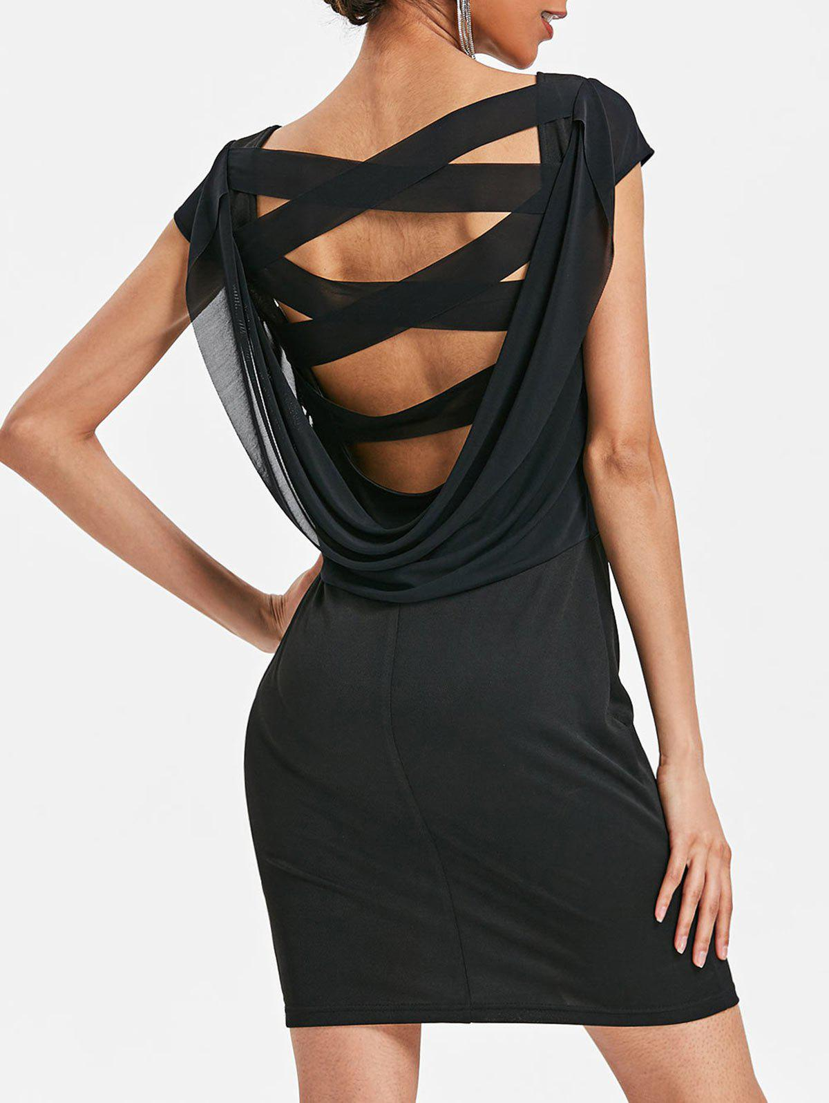 Hot Criss Cross Cowl Back Straight Dress