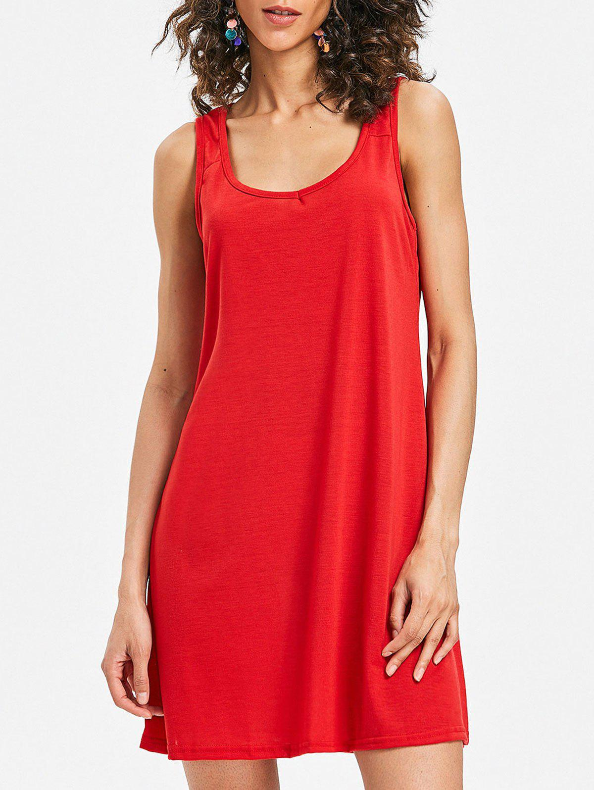 Chic Sleeveless Scoop Neck Shift Dress