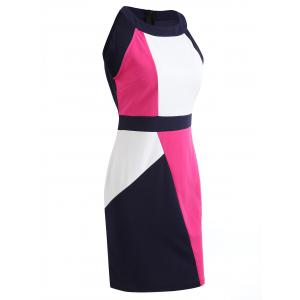 Color Contrast Sleeveless Pencil Dress -