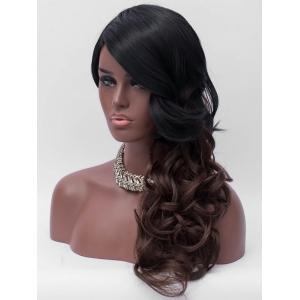 Long Side Bang Colormix Wavy Synthetic Wig -