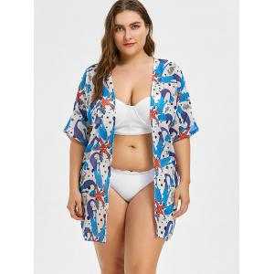 Sheer Plus Size Mermaid and Starfish Print Cover Up -