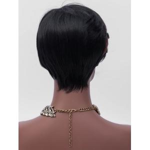 Short Side Bang Highlighted Straight Synthetic Wig -