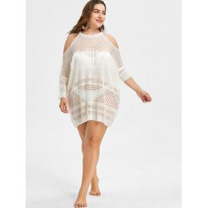 Fringed Plus Size Crochet Cover Up -