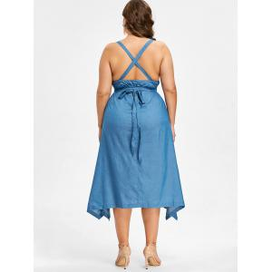 Robe Dos-Nu Motif Chambray Grande-Taille -