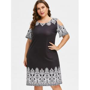 Plus Size Cold Shoulder Ethnic Print Shift Dress -