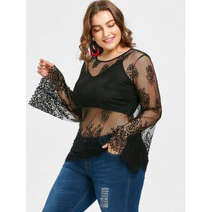 Plus Size Sheer Lace Blouse with Crop Camisole -