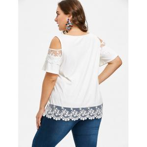 Plus Size Lace Trim Ribbed T-shirt -