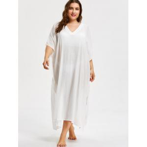 See Through Plus Size V Neck Cover Up Dress -