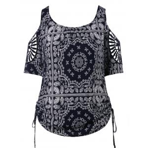 Plus Size Paisley Cold Shoulder T-shirt -