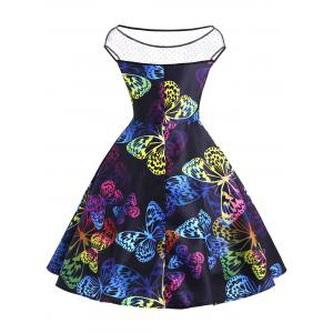 Butterfly Print Vintage Flare Dress -