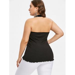 Plus Size Ribbed Halter Neck Tank Top -