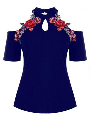 Outfit Plus Size Open Shoulder Embroidery T-shirt