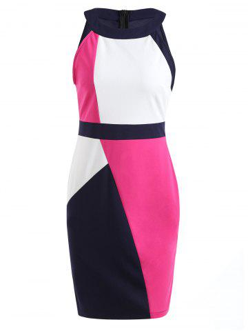 Hot Color Contrast Sleeveless Pencil Dress