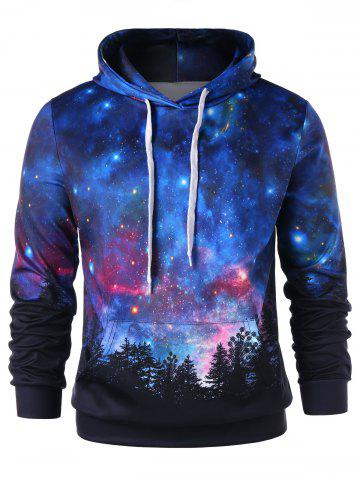 Affordable Front Pocket Starry Sky 3D Print Pullover Hoodie