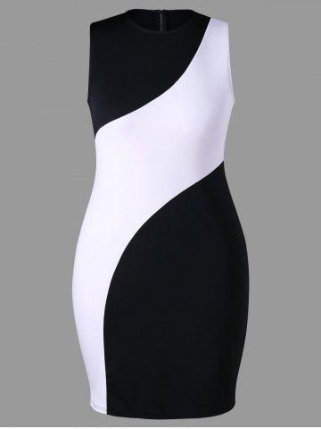 Buy Plus Size Sleeveless Color Block Dress