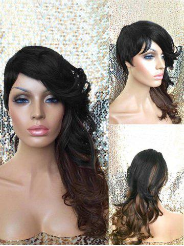 Fashion Long Side Bang Colormix Wavy Synthetic Wig