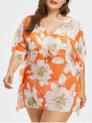 Cheap V Neck Plus Size Floral Print Cover Up