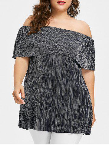 New Plus Size Shining Flounce Off Shoulder T-shirt