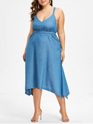 Robe Dos-Nu Motif Chambray Grande-Taille