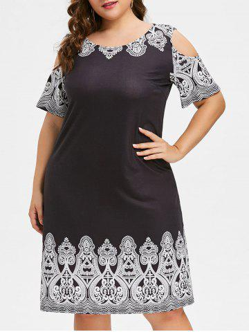 Fancy Plus Size Cold Shoulder Ethnic Print Shift Dress