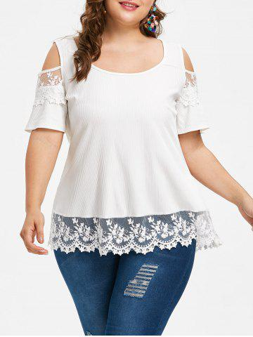 Sale Plus Size Lace Trim Ribbed T-shirt