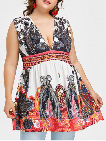 Cheap Plus Size Empire Waisted Exotic Print Tank Top